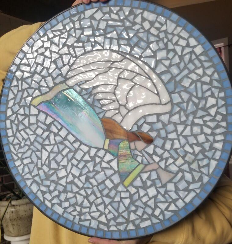 Mosaic Slag Glass Angel Wall Hanging Or Tabletop Art Heavy