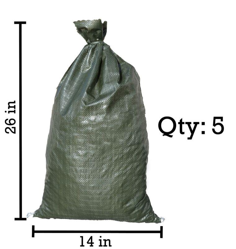 Sandbags For Sale - 5 Green Empty 14x26 -Sandbag Sand Bags Bag Poly by Sandbaggy