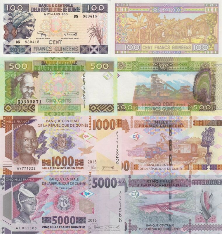 Guinea 4 Note Set: 100, 500, 1000 & 5000 Francs (2015) - pA47, p47a, p48a & p49