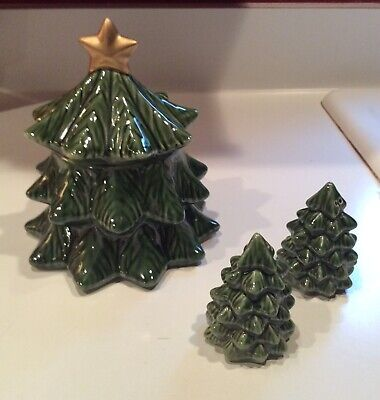 Vintage (?) glossy Ceramic Christmas Tree Candy Jar and Salt and Pepper Shakers
