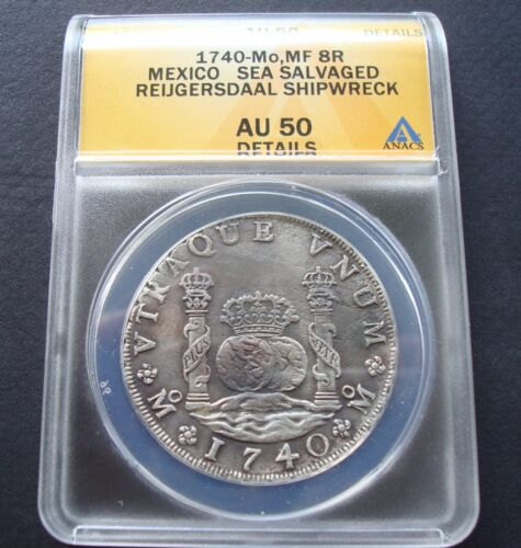 1740 Mexico 8 Reales AU 50 ANACS Pillar  Silver Coin