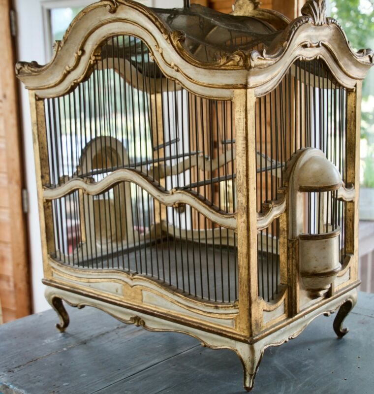 Antique French Wooden Gilded Bird Cage