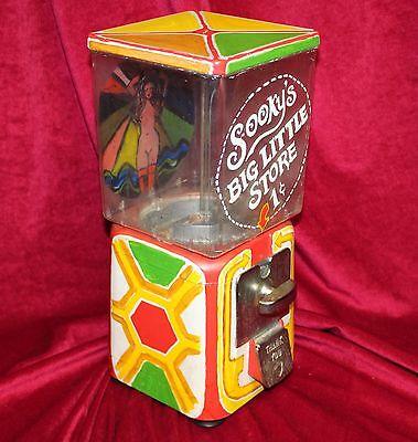 Vintage Hand-Painted Oak Acorn Gumball  Vending Machine
