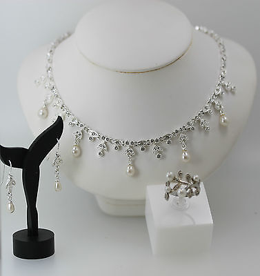 Pretty Silver Tone Faux Pearl & White Stone Necklace Earring & Ring Jewelry Set