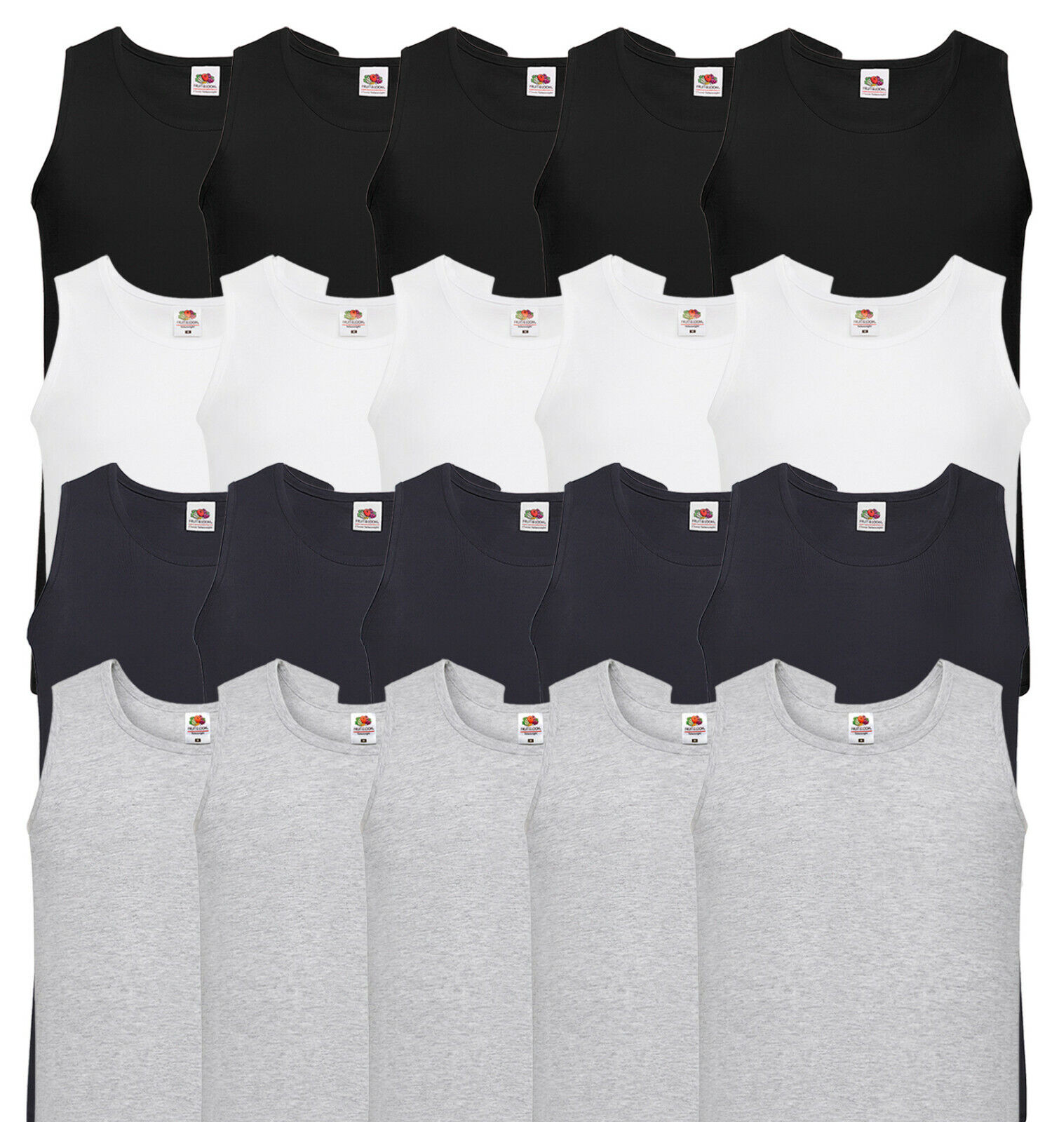 5er FRUIT OF THE LOOM HERREN MUSKELSHIRT UNTERHEMD TSHIRT TANK TOP -S M L XL XXL