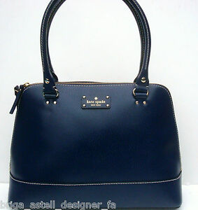NWT Kate Spade Wellesley Rachelle Leather Dome Satchel Purse Bag Navy Blue