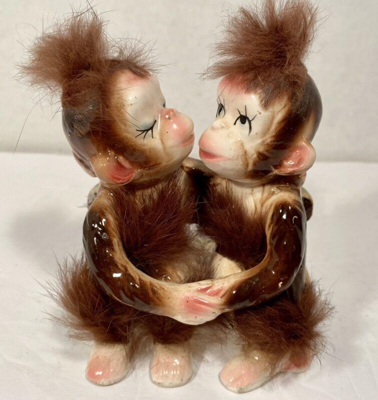 Vintage Kissing Monkeys Chimpanzees Figurine Trimmed in Fur