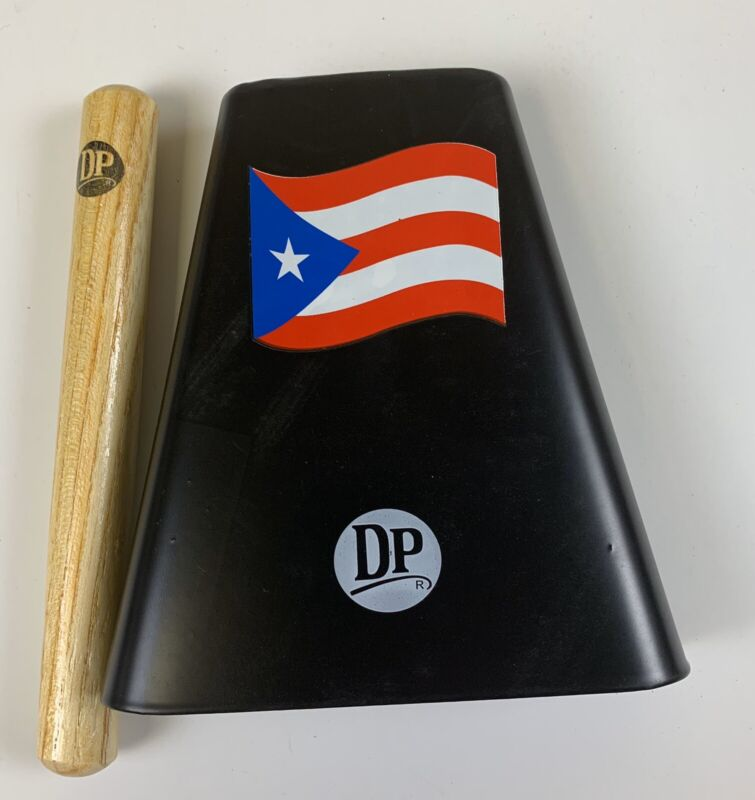 "Hand Held Cowbell 6"" With Cowbell Beater And Puerto Rico Flag Design."