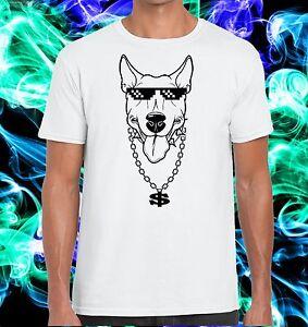 T-shirt-esclusiva-Passione-Bull-Terrier-Cane-con-Occhiali-Thug-e-Collana-dollaro