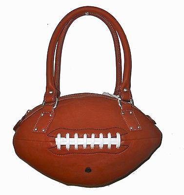 New Football Ball - NEW r25 Brown FOOTBALL PURSE Hand Bag Retro Pigskin Leather Ball Replica NFL fun