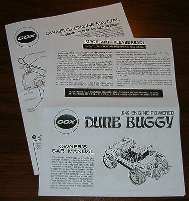 COX .049 DUNE BUGGY OWNERS CAR INSTRUCTION AND 049 ENGINE MANUAL for sale  Shipping to India