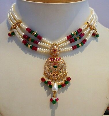 Real ruby emerald stone 22k yellow gold bridal jewelry necklace earrings set