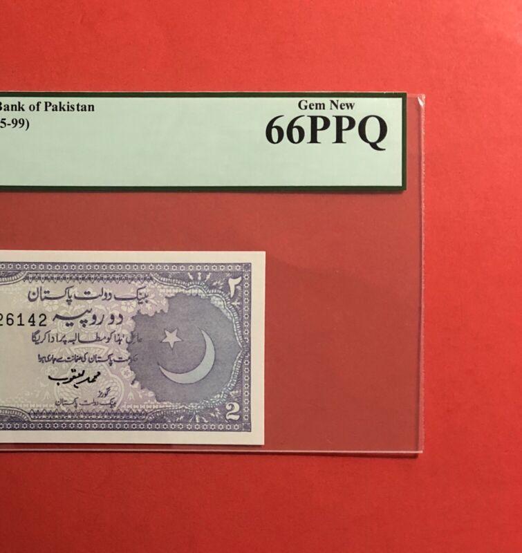 1985-99-PAKISTAN- 2 RUPEES NOTE,GRADED BY PCGS GEM BEW 66 PPQ.