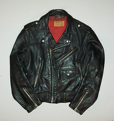 Great vtg 1950's MOTORCYCLE JACKET Kurland Black Leather Steerhide Buco Biker