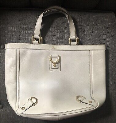 Auth GUCCI White Leather Tote Bag- The abbey Tote- As Is