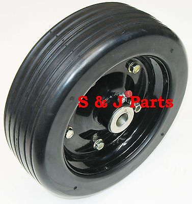 "10""x 3.25"" FINISH MOWER WHEEL -SOLID MOLDED TIRE - FITS 1"" AXLE"