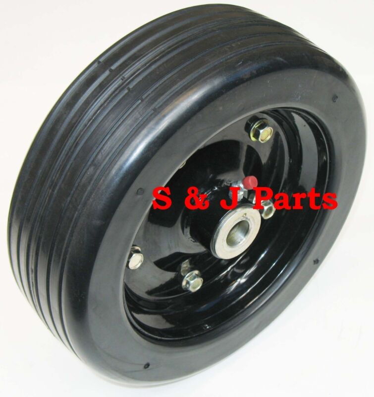 """10""""x 3.25"""" FINISH MOWER WHEEL -SOLID MOLDED TIRE - FITS 1"""" AXLE"""