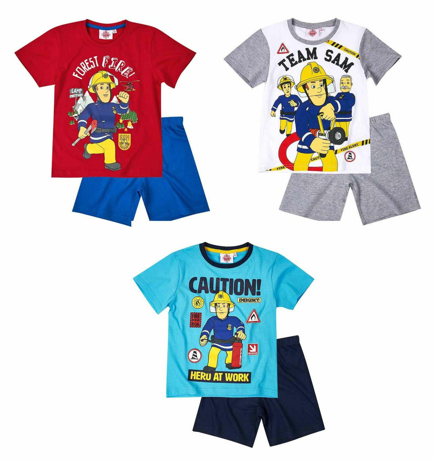 Feuerwehrmann Sam Kinder Shorty Pyjama Gr.104-140 Schlafanzug kurz neu!