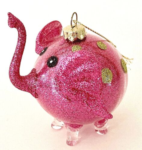 PIER 1 Pink Glitter Glass Elephant Ornament Hangs or Stands Gold Polka Dots EC