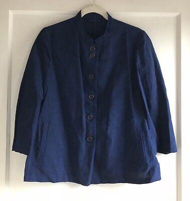Casey Vidalenc 100% Linen Blue Button Down Blazer Jacket Coat Size 40 S France