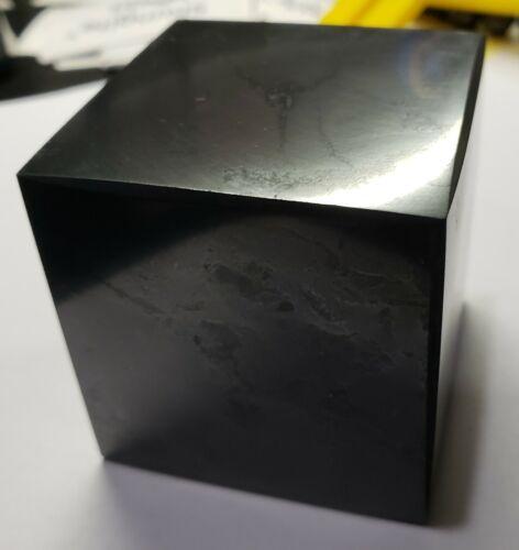 "Shungite Cube 50 mm / 2"" Polished Original Healing Stone Karelia Russia"