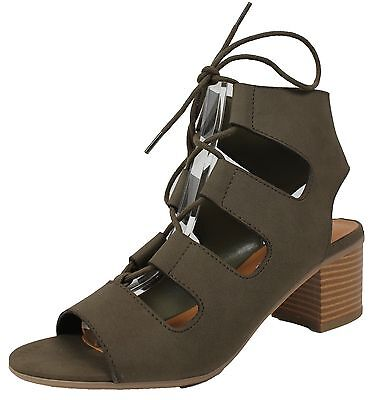 City Classified Womens Open Toe Lace Up Cutout Stacked Chunky Heel Sandal