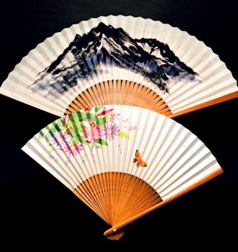 Japanese Folding Dance Hand Fan Mt. Fuji Geisha Odori Sensu Paper Bamboo Frame