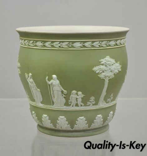 "Wedgwood Sage Green 7.25"" Jasperware Planter Pot Jardinière Cache Pot A"