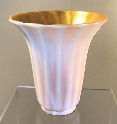 ANTIQUE ART GLASS SHADE GOLD AURENE IVERENE SIGNED QUEZAL
