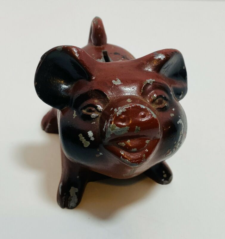 Vintage Cast Iron Red Metal Piggy Bank