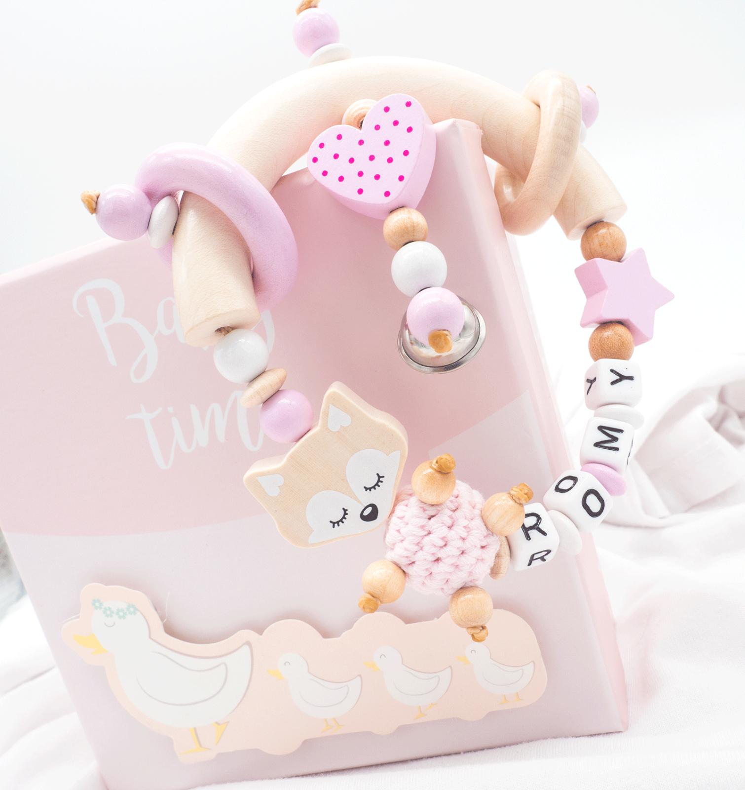 Greifling mit Namen + Glocke ♥ Holz ♥ XL Fuchs ♥Baby Mädchen Geschenk rosa natur