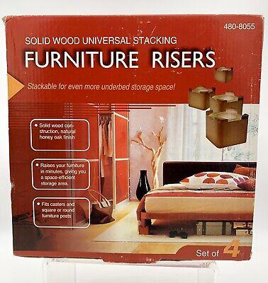 Solid Wood Bed Furniture Risers Honey Oak Finish Set of 4 Risers