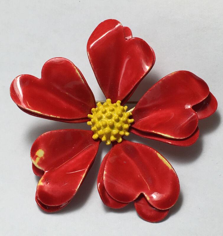 Vintage Red Flower Brooch Pin Holiday Festive Jewelry Double Petals Metal Enamel