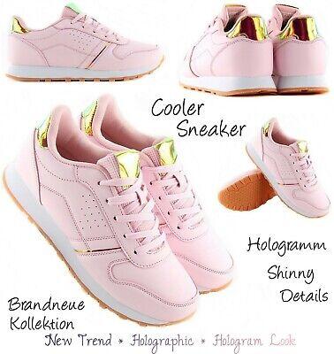 NEU GR. 38 ♡ Sneaker mit Hologramm-Metallic-Details Turnschuhe Damen in Rosa  Details Sneaker