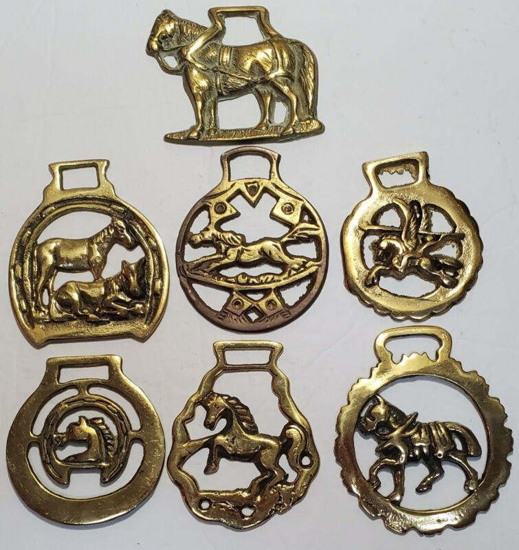 7 Vintage Brass Horse Themed Horse Harness Medallions