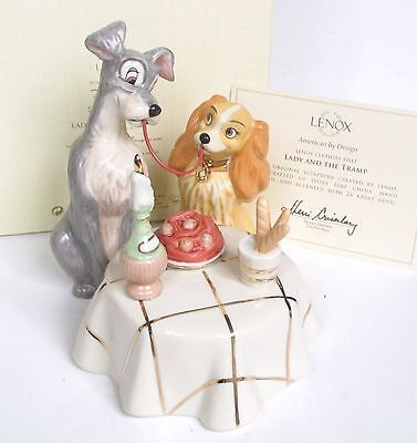 Lenox Disney LADY AND THE TRAMP Spagetti Scene Figurine - New In Box