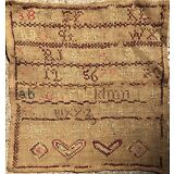 ANTIQUE NEEDLEWORK CROSS STITCH SAMPLER