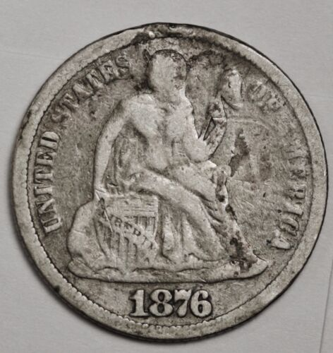 1876 Liberty Seated Dime.  Love Token.  100485