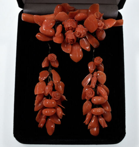 ANTIQUE VICTORIAN CARVED SALMON RED CORAL EARRINGS & BROOCH C.1860