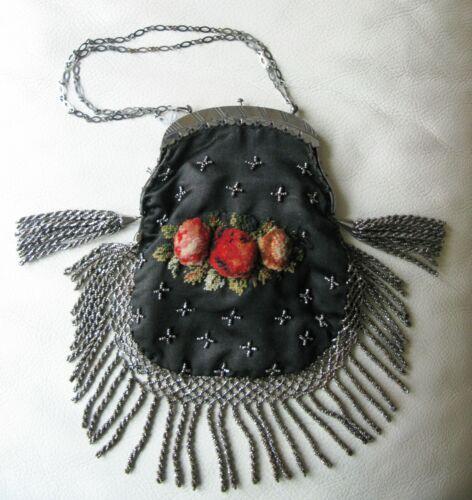 Antique Textile 1890s Black Silk Turkish Wool Embroidery Steel Micro Bead Purse