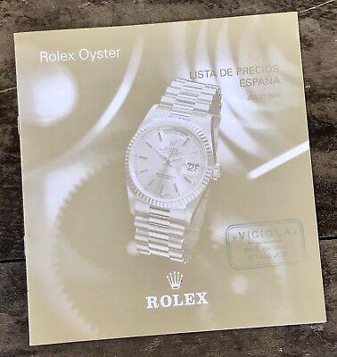 ROLEX Price List 1996 Spain Daytona Zenith 16518 16520 16523 16528 GMT DAYDATE