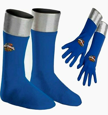 Power Rangers Operation Overdrive Blue Boots Covers & Gloves Child costume New (Power Rangers Boots)