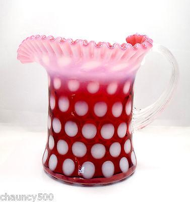 Vintage Fenton Glass Cranberry Opalescent Coin Dot Ruffled Hat Pitcher Vase