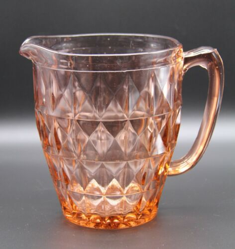 Vintage Jeanette Pink Windsor Diamond Depression Glass Pitcher