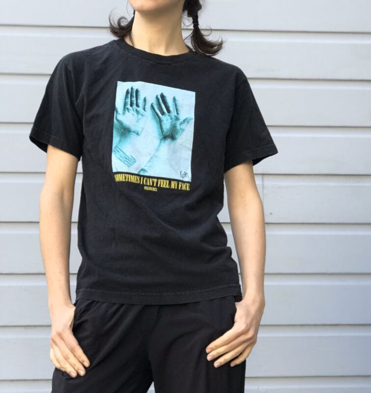 KORN x PLEASURES Graphic Tee Can't Feel My Face Shirt Black Size Small Metal