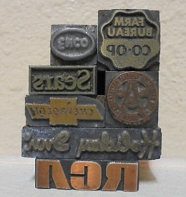 Vintage Lot Of 7 Printing Blocks Letterpress Enco Chevy Sears Coop Holiday Inn