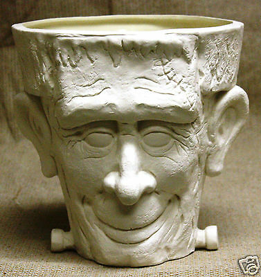 Ceramic Bisque Frankenstein Candy Bowl TL Design Mold 1138 Ready To Paint