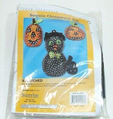 Sequin Kit Ornaments Crafts Halloween Black Cat 2 Pumpkins Make Your Own Kit - Make Your Own Cat