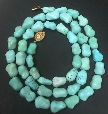 Vintage Chinese Turquoise Bead Necklace