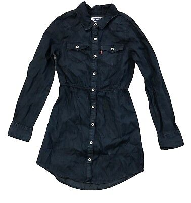 Levi's Girls Long Sleeve Woven Chambray Dress Dark Denim